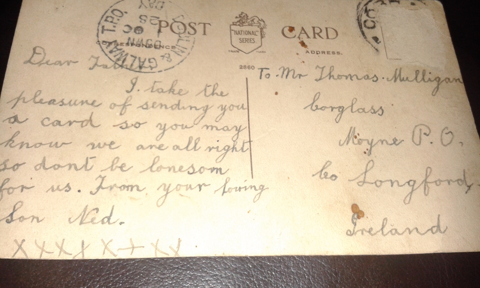 Original postcard sent by Eddie, aged 16